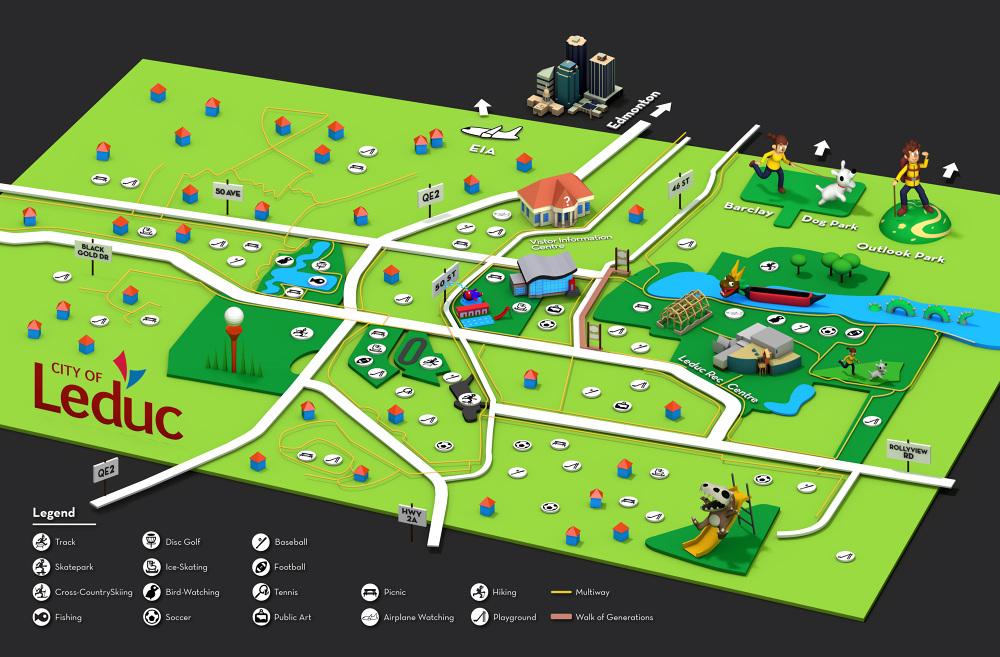 Leduc Parks and Rec Map Sean Simpson Illustration